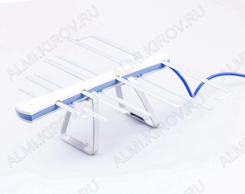 Антенна комнатная ЁЛКА АРА-040 активная бело-голубая ДМВ/DVB-T; 20dB; питание 5V от ресивера, без блока питания, с кабелем 1.8м, упак. пакет