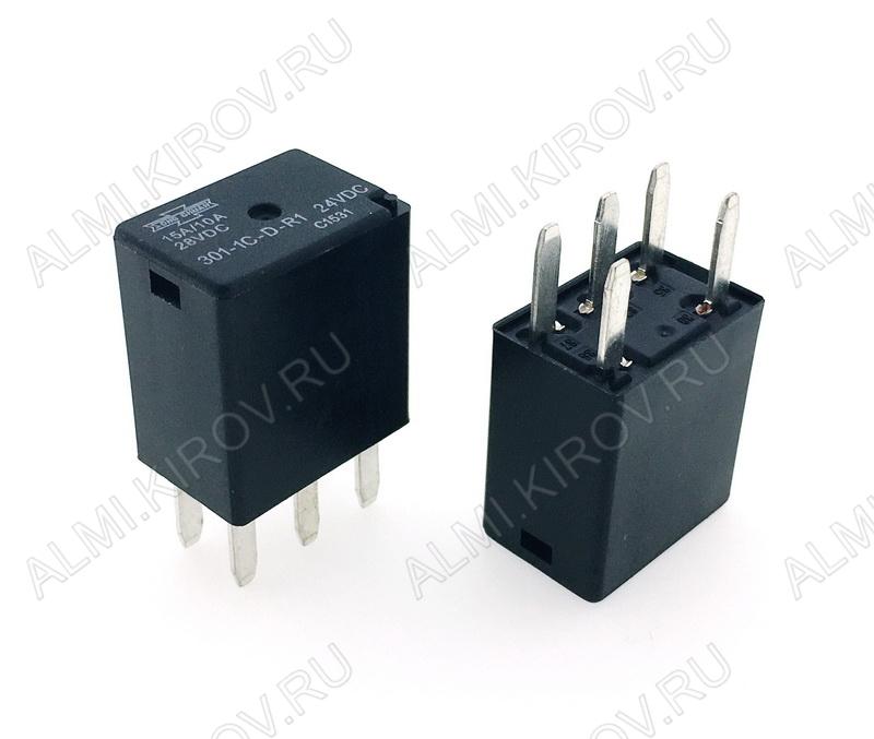 Реле 301-1C-D-R1 24VDC   Тип 26.2 24VDC 1C(SPDT) 20A 22.5*15*25mm; авто, резистор в катушке 2.7кОм