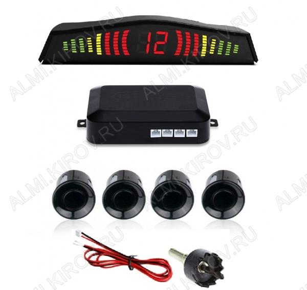 Парктроник RD-035 4 датчика, цветной светодиодный дисплей с цифровым табло; 12V; фреза 21.5мм в комплекте