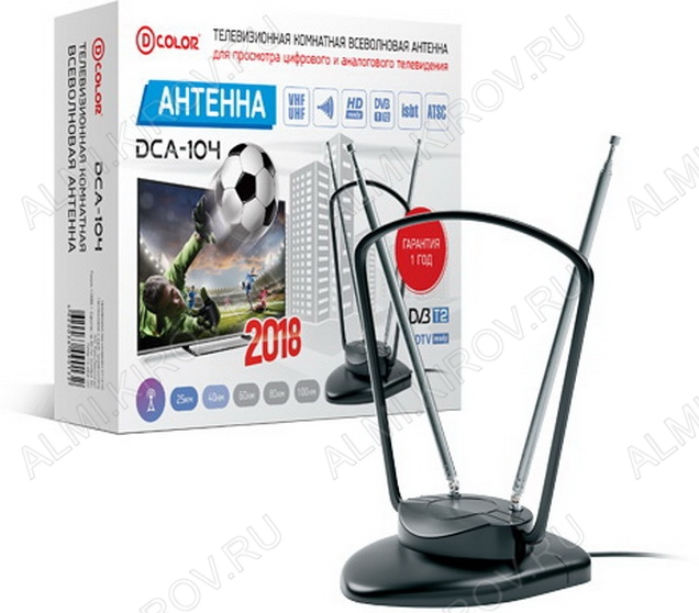 Антенна комнатная DCA-104A активная ДМВ/DVB-T; 33dB; питание 5V от USB; с кабелем