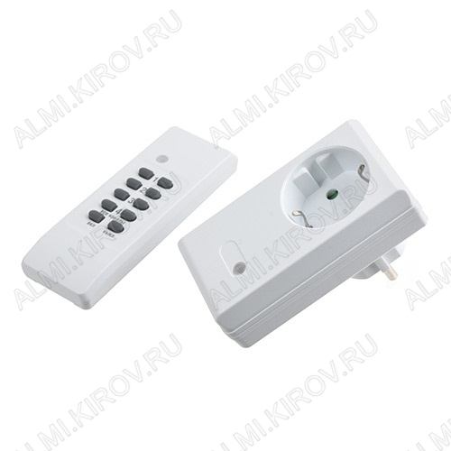 Розетка с ПДУ УД-1 (1 розетка + ПДУ) Мощность до 3600 Вт; IP 23; Радиус: 30 м; Цвет - белый