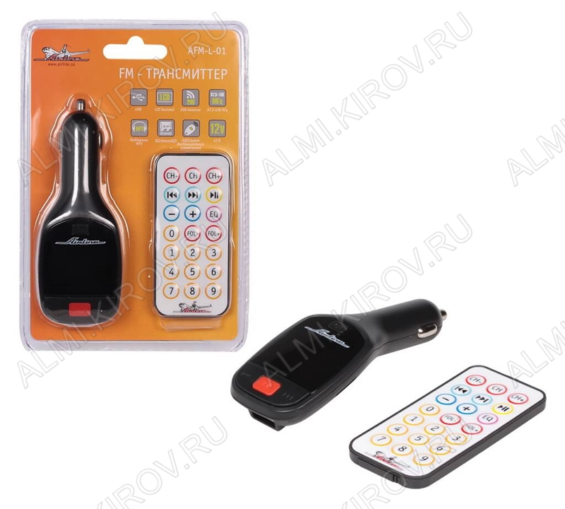 FM модулятор (AFM-L-01) MP3, ПДУ, карты USB/SD/microSD