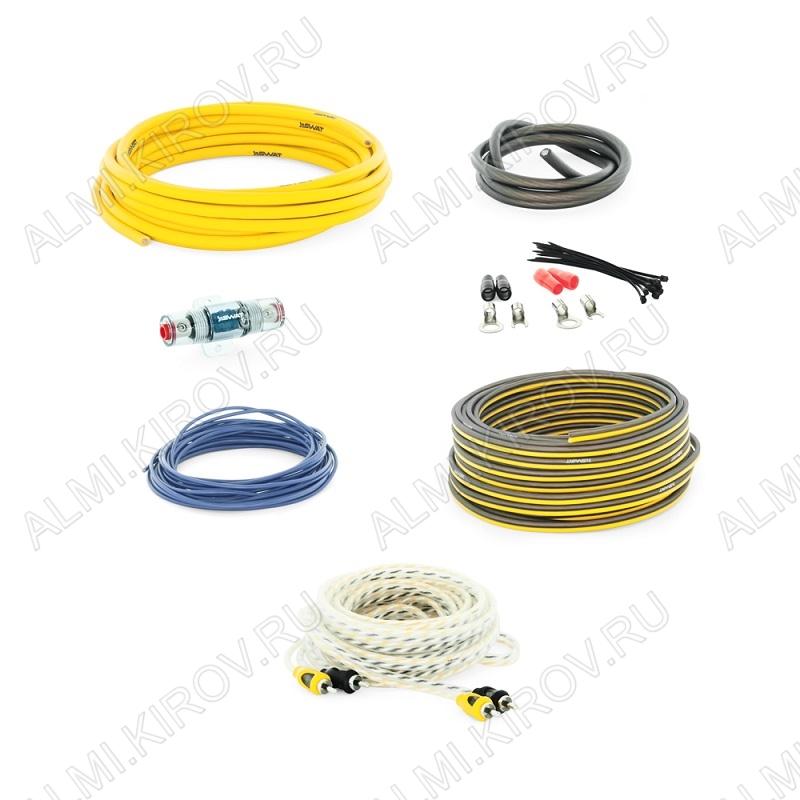 Набор для уст-ки автоусилителя PAC-T8 (2х канальный) Комплект силовых кабелей 8 GA(9мм2): 5м. жёлтый, 1м. черный, управл. кабель, 5м. синий  держатель пред. miniANL, пред. 60 А, клеммы, RCA кабель, стя