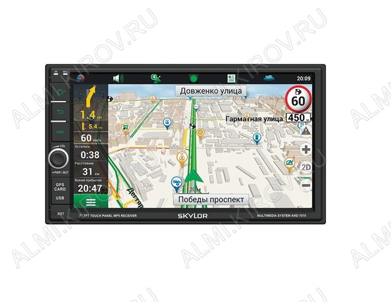 Автомагнитола  AND-7070 (2DIN) на Android 6.0 с GPS, Wi-Fi, Bluetooth MP3; 4x50W, FM (87,5-108 MHz), USB/microSD/AUX,  DC12V, TFT дисплей, цветной 7