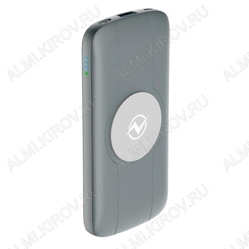 Аккумулятор внешний 10000mAh QW-10, Grey, с беспроводной зарядкой Вход: microUSB/Type-C - до 18W; выход: Type-C/USB - до 18W, Беспроводное ЗУ - 10W
