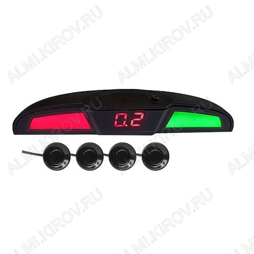 Парктроник PS-444U голосовое сопровождение 4 датчика, цветной светодиодный дисплей с цифровым табло; 12V; фреза 21.5мм в комплекте