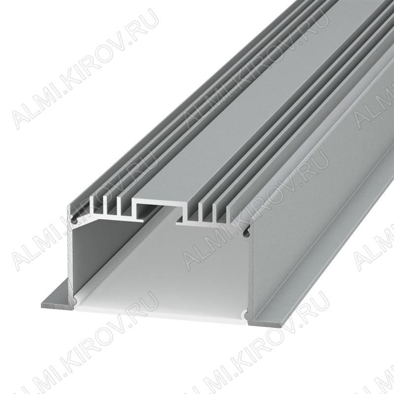 Профиль врезной PE63 (005090)  для LED-ленты шириной до 32мм размеры: 2000*65*32мм; комплект: профиль, экран, 4 заглушки, 8 скоб