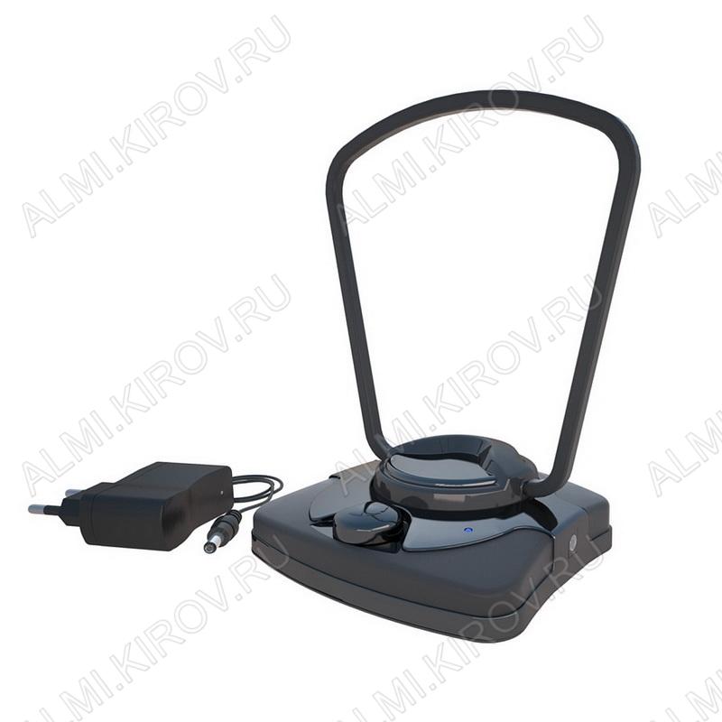 Антенна комнатная BAS-5137-DX МОСТ активная черная ДМВ/DVB-T; 32dB с регулировкой; блок питания, с кабелем 2м