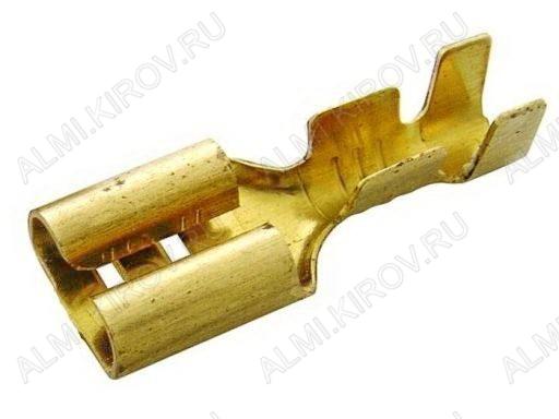 Клемма ножевая (№79) 6.4x0.8 гнездо DJ622-D6.3A неизолированная сечение 0.5-0.8 мм2