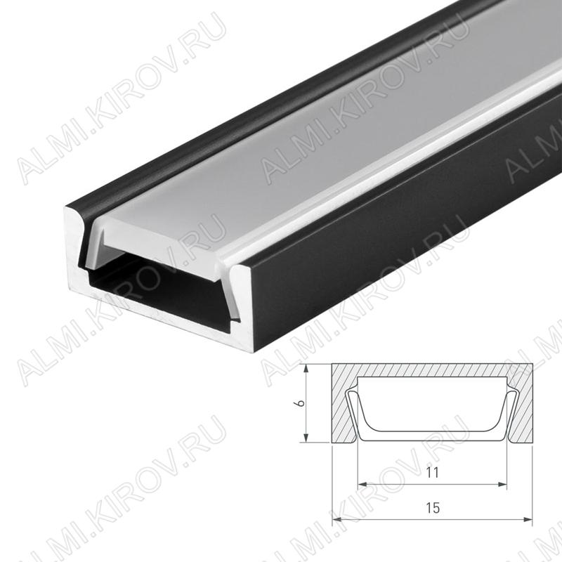 Профиль накладной MIC-2000 ANOD Black (019487)  для LED-ленты шириной до 10мм размеры: 2000*15.2*6мм