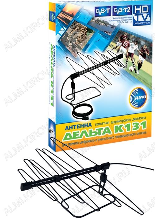 Антенна комнатная Дельта K131 пассивная ДМВ/DVB-T2; 4dB; с кабелем