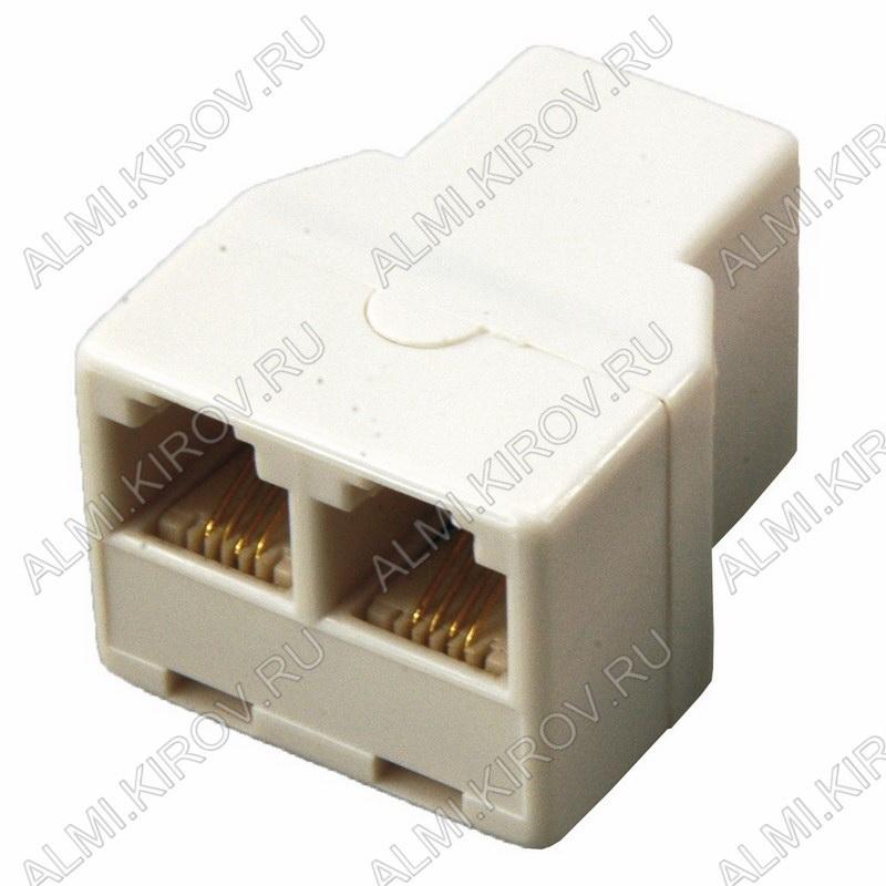 Переходник (2342) телефонное гнездо/2гнезда Для внешней проводки