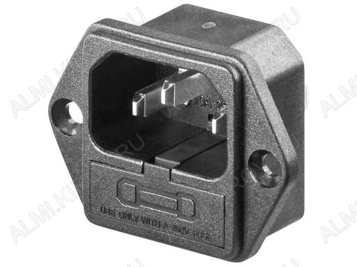 Разъем (404) AC-3FL штекер на корпус с предохранителем с ушами 250V; 10A