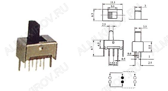 Переключатель движковый RWJ-006 2 положения; 6 pin
