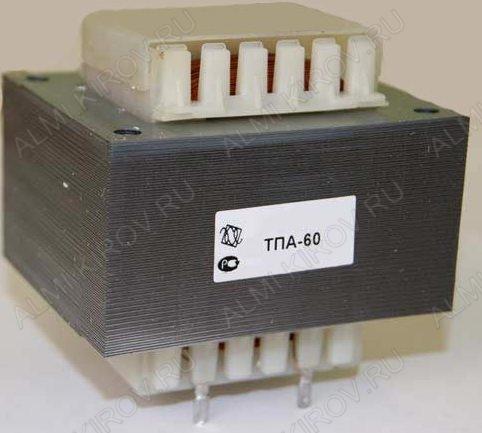 Трансформатор ТПА-60-2х9вС   9V*2 3.3A 60W 75*63*64мм; с предохранителем; масса 1.5кг