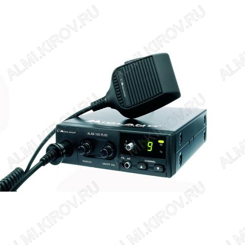 Радиостанция авто. Alan 100+ 40 каналов, 4,5 Вт, ЧМ/АМ модуляция, индикация каналов, радиус действия до 10 км, диапазон СВ 27МГц