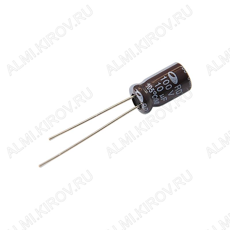 Конденсатор электролитический   10мкФ 100В 0611 +105°C