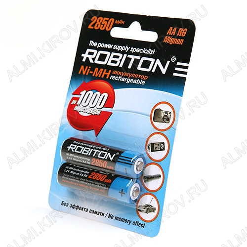 Аккумулятор R6/AA 2850mAh 1.2V;NiMh;блистер 2/50                                                                                                          (цена за 1 аккумулятор