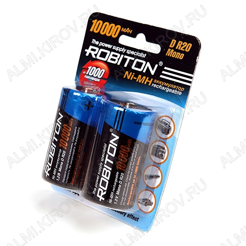 Аккумулятор R20/D 10000mAh 1.2V;NiMh; 2/50                                                                                                          (цена за 1 аккумулятор