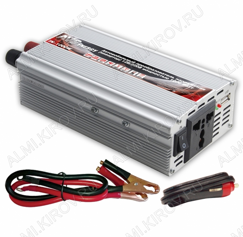 Адаптер DC/AC 12V/220V IN-1000W 220В 50Гц 1000Вт автомобильный инвертор
