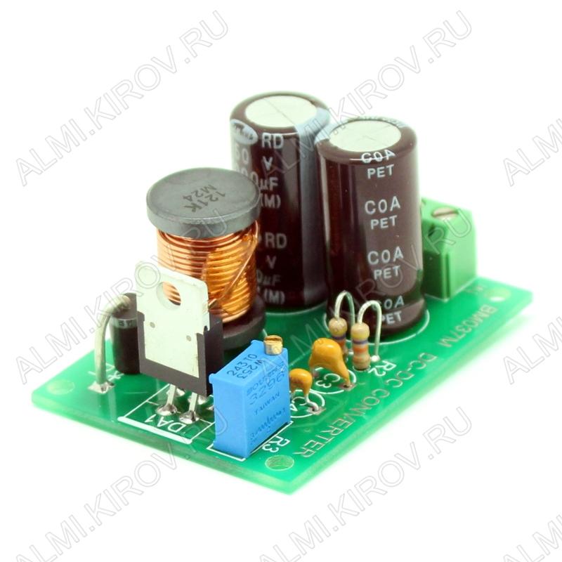 Радиоконструктор Преобразователь DC/DC в 1,2...37В(3А) из 4,5...40В (BM037M)(Распродажа) Понижающий. Частота преобразования 150 кГц, тепловая защита и защита по выходному току