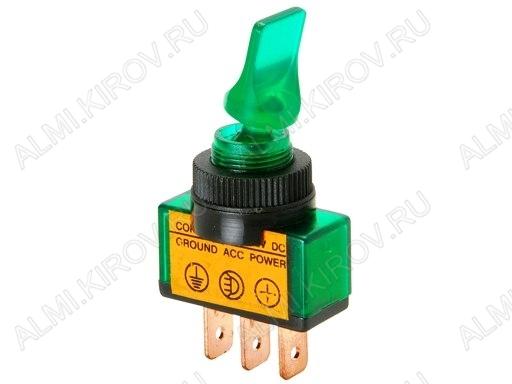 Тумблер RWC-405 (12V;20A) ON-OFF зеленый с подсветкой 3pin
