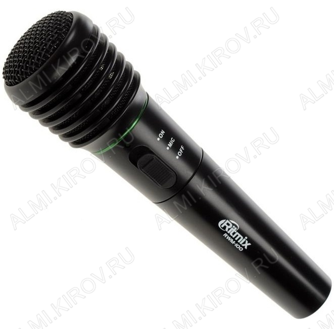 Микрофон динамический RWM-100black беспроводной FM 100-120 МГц;дальность 15-30 м;100-10000 Гц;600 Ом;72 дб;однонаправленный;