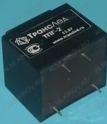 Трансформатор ТПГ-2-2х15В   15V*2 0.07A*2 2.5W 32*27*30мм; герметизированный; масса 0.11кг
