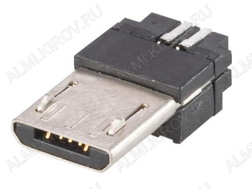Разъем (382) MICRO USB 5pin штекер на кабель (без корпуса)