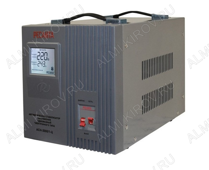 Стабилизатор напряжения АСН-3000/1-Ц  3000Вт 1-фазный Электронный; Uвх=140-260В; Uвых=220В+8%; высоковольт.защита 260+5В; время регулирования 5-7мс