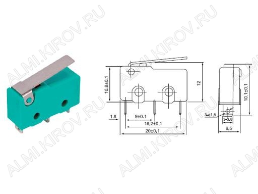 Переключатель RWA-202 пластина 3.0A/250V; 3 pin