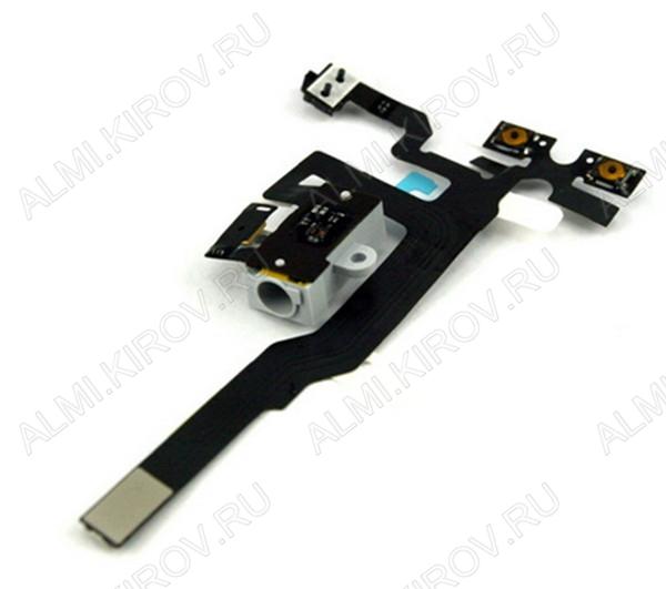 Шлейф для iPhone 4S + разъем гарнитуры + кнопки громкости и MUTE черный