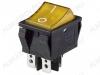 Сетевой выключатель RWB-513 (SC-767) желтый широкий с подсветкой 29,5*22,2mm; 15A/250V; 4 pin