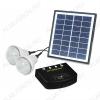 Комплект портативный для освещения PS-K013N 4Вт (2лампы) Солнечная панель с блоком управления с литиевой батареей(2600мАч / 7,4В с индикатором заряда) и USB выходом плюс 2 светодиодные лампы 1Вт.