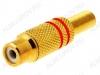 Разъем (1210) RCA гнездо на кабель красный метал. Gold