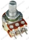 Потенциометр 1МB*2 исп.2 RV16A01F-20-15K-A1M-3 (R78) Металлический, вал 15 мм с накаткой и шлицем, логарифмическая зависимость