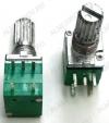Потенциометр 100KB+ выкл. (5pin) №10 для радиостанций Металлический, вал 15 мм с накаткой и шлицем, линейная зависимость