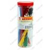 Набор стяжек кабельных НХ-2 (07-7202) Цветные в пластиковой тубе: 2,5*100мм - 150 шт; 3,5*200 - 150 шт; цвета: красный, синий, желтый, зеленый, оранжевый