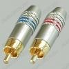 Разъем (1428) RCA штекер на кабель метал.позолоч. (пара) (1-276G) красный, синий