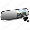 Видеорегистратор Spiegel Duo Full HD зеркало заднего вида с 2-ой проводной камерой microSD - карта 4-32Gb; Li-ion аккумулятор; дисплей 4.3
