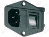 Разъем (4042) AC штекер на корпус с выключателем и предохранителем с ушами 250V; 10A