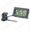 Термометр цифровой TPM-10 врезной Измерение температуры от -50 до +110°С; выносной датчик 1.0м Питание от 1xG13(в комплекте)