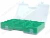 Контейнер для радиодеталей B-300 Материал: пластик;18 ячеек с двух сторон, сменные перегородки; Глубина 24 мм; Размер бокса: 300 х 185 х 60 мм