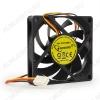 Вентилятор 12VDC 70*70*15mm D7015SM-3 3-pin с датчиком оборотов 0.22A; 2600 об; 27dB; Sleeve