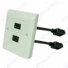 HDMI-Розетка 2xHDMI pigtail квадратная с кабелем 0.15м Цвет белый, рамка в комплекте