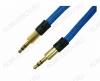 Шнур (TS-3231) 3.5 шт стерео/3.5 шт стерео 1.0м тонкий штекер, тканевая оплетка, цветной