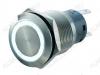 Кнопка антивандальная M19 ON-(ON) LED12V 1NO1NC 5c белая с подсветкой 12V (без фикс.) 250V; 5A; 5pin; D=19mm; IP67