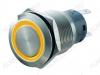 Кнопка антивандальная M19 ON-(ON) LED12V 1NO1NC 5c желтая с подсветкой 12V (без фикс.) 250V; 5A; 5pin; D=19mm; IP67