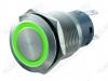 Кнопка антивандальная M19 ON-(ON) LED12V 1NO1NC 5c зеленая с подсветкой 12V (без фикс.) 250V; 5A; 5pin; D=19mm; IP67