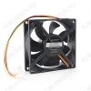 Вентилятор 12VDC 80*80*25mm D8025HM-3 3-pin с датчиком оборотов Ball, 2600 об, 27 дБ,  Тип разъёма: трёхпиновый Датчик оборотов: есть